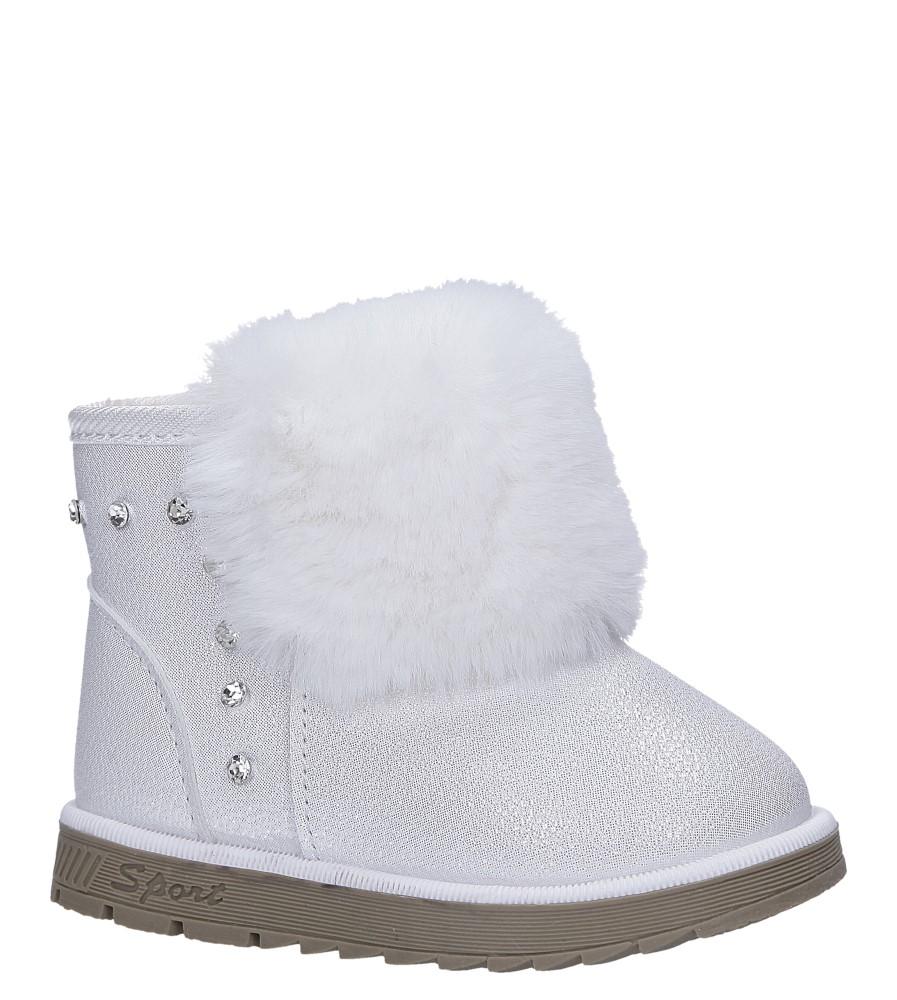 Białe śniegowce mukluki brokatowe z futerkiem emu Casu 978A