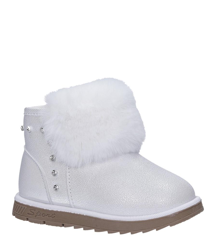 Białe śniegowce mukluki brokatowe z futerkiem emu Casu 978B