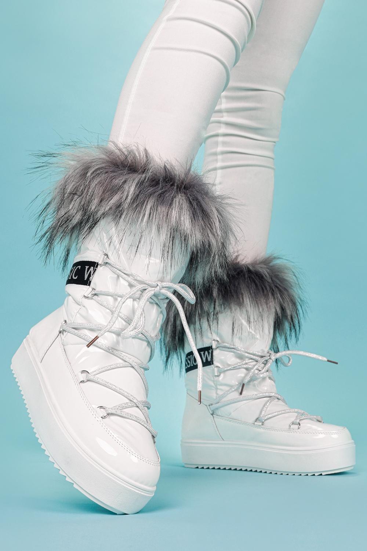 Białe śniegowce mukluki z futerkiem emu Casu BK915-9 biały