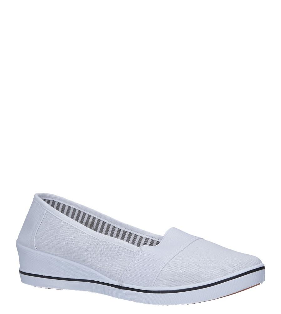 Białe tenisówki na koturnie z gumką Casu 15W-11
