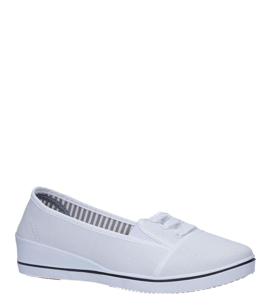 Białe tenisówki na koturnie z gumką Casu 15W-9