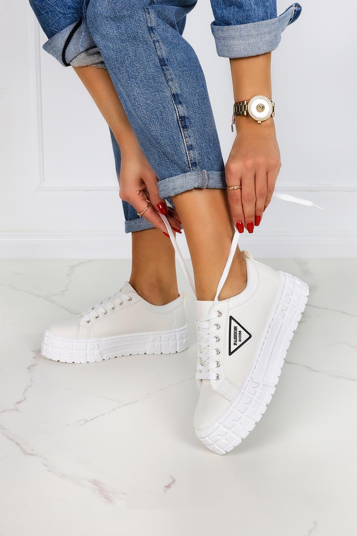Białe trampki creepersy na platformie buty sportowe sznurowane Casu LA134P biały