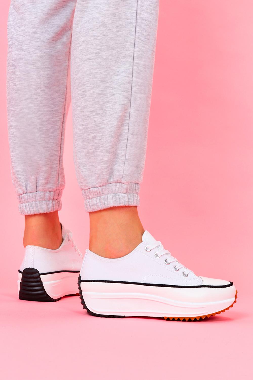 Białe trampki na platformie buty sportowe sznurowane Casu 205116 biały