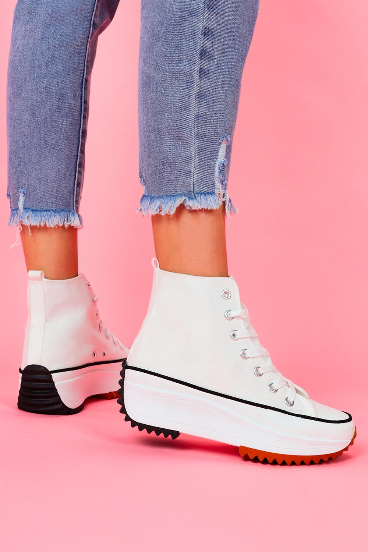 Białe trampki na platformie wysokie buty sportowe sznurowane Casu VL135P biały