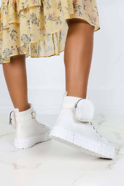 Białe trampki na platformie wysokie buty sportowe sznurowane z kieszonką Casu PC88 biały