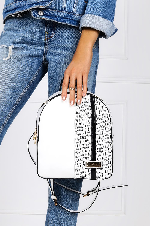 Biały plecak z wzorkiem Femestage BAG0560-000 biały