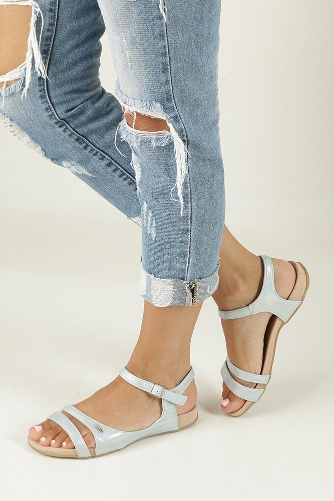 Błękitne sandały błyszczące Casu 7SD567