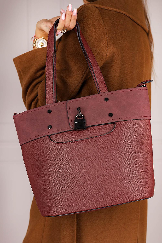 Bordowa torebka Casu z ozdobnymi suwakami AK-3/511992