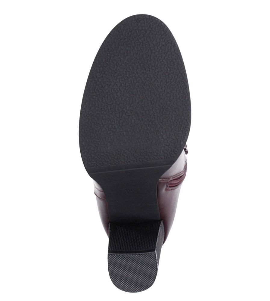 Bordowe botki na słupku ozdobnym Sergio Leone BT518 wnetrze futerko