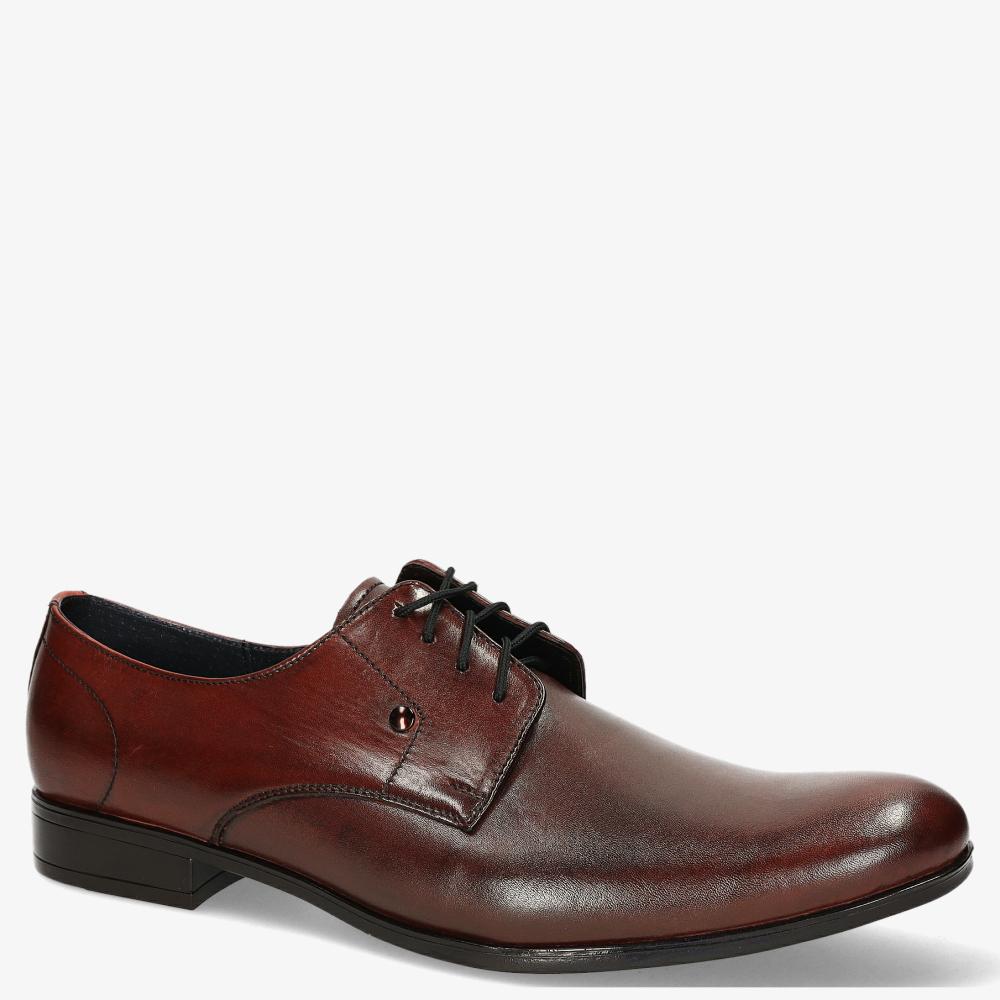 Bordowe buty wizytowe sznurowane polska skóra Windssor 624 bordowy