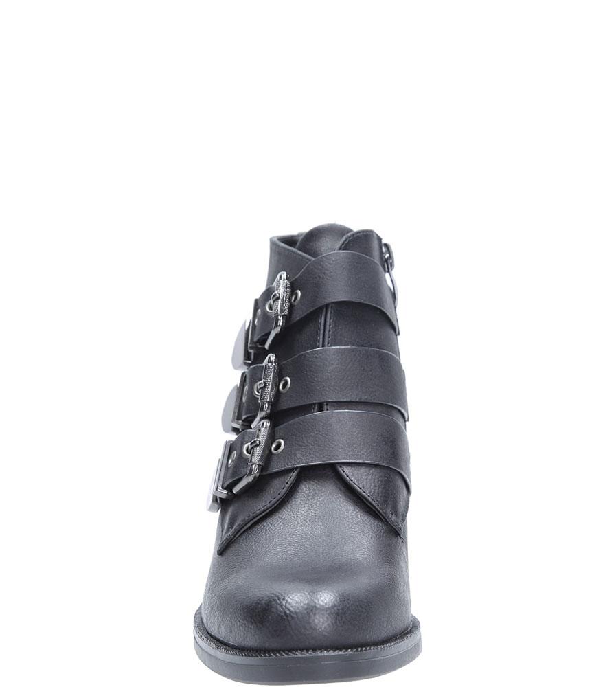 Botki na słupku z klamrami Sergio Leone BT0520 kolor czarny