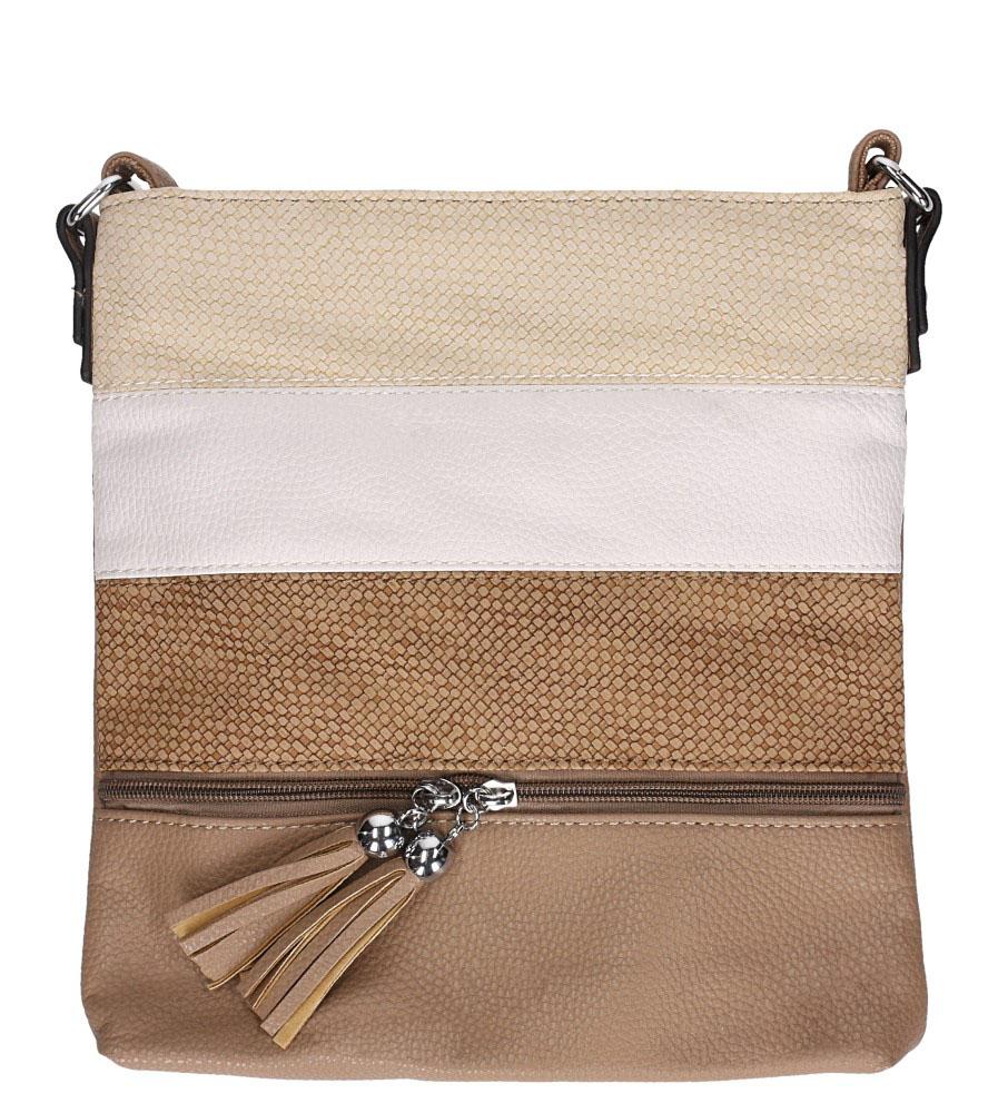 Brązowa torebka listonoszka z frędzlami i ozdobnym suwakiem Casu 3226-BB