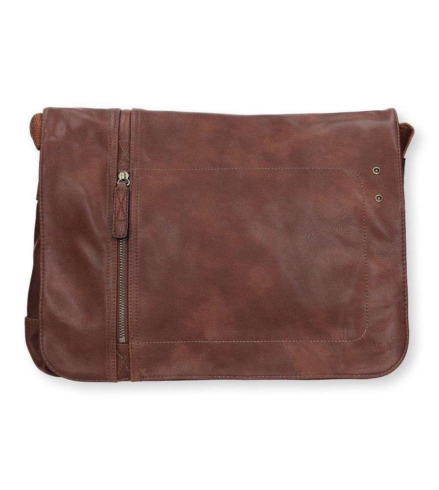Brązowa torebka listonoszka z ozdobnym suwakiem Casu 661-MH