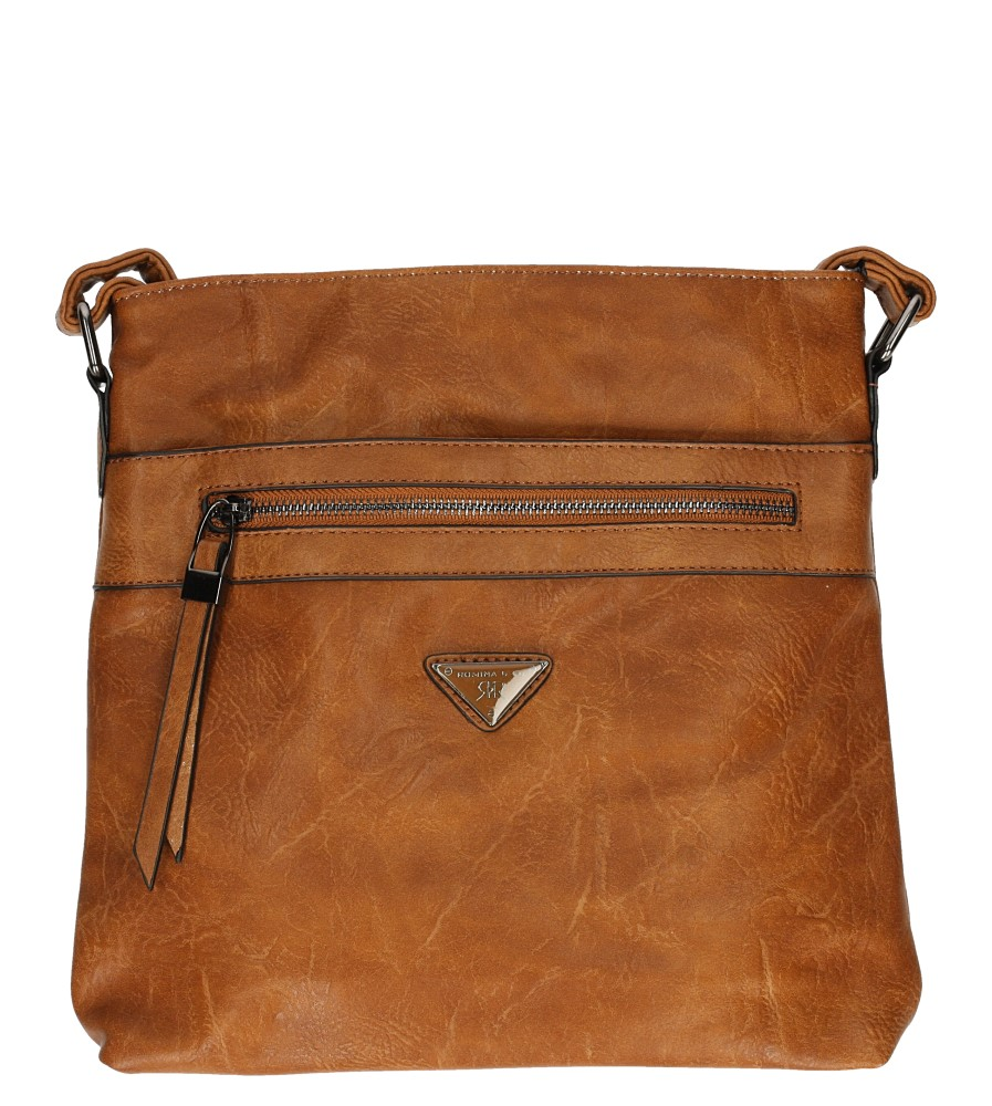 Brązowa torebka listonoszka z ozdobnym suwakiem Casu D90