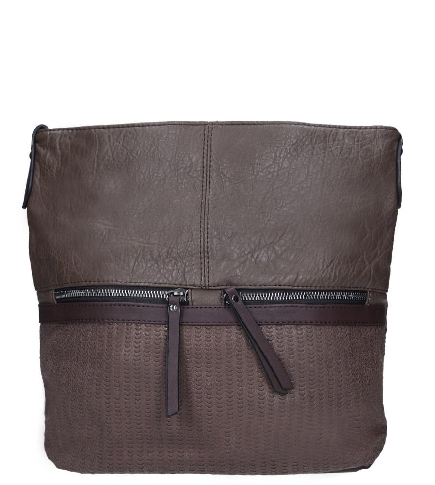 Brązowa torebka listonoszka z ozdobnymi suwakami Casu 3940-BB