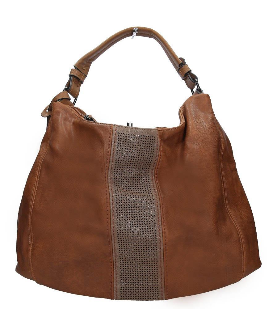 Brązowa torebka z ażurowym wykończeniem Casu2064