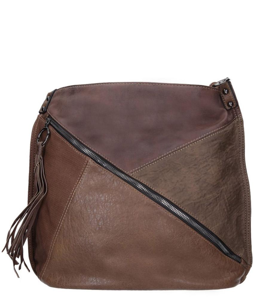 Brązowa torebka z ozdobnym suwakiem Casu 3794-BB