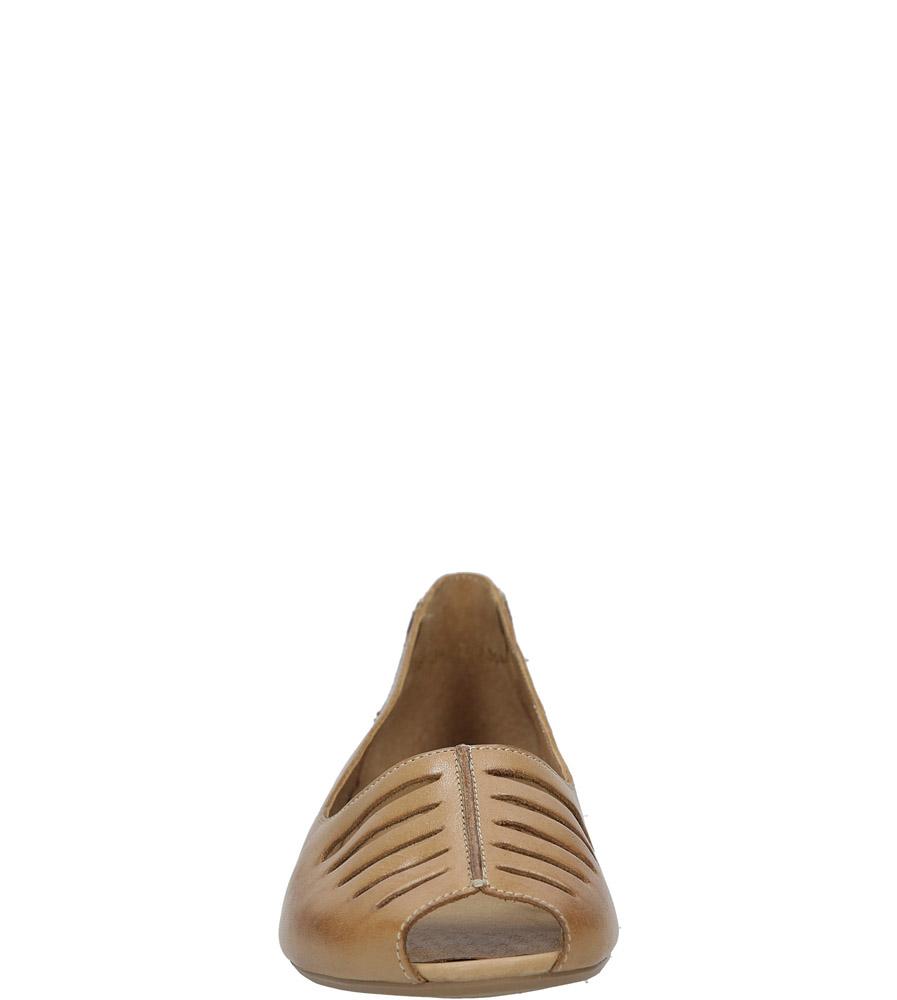 Brązowe baleriny skórzane z odkrytymi palcami Maciejka 03497-29/00-6 style Peep toe