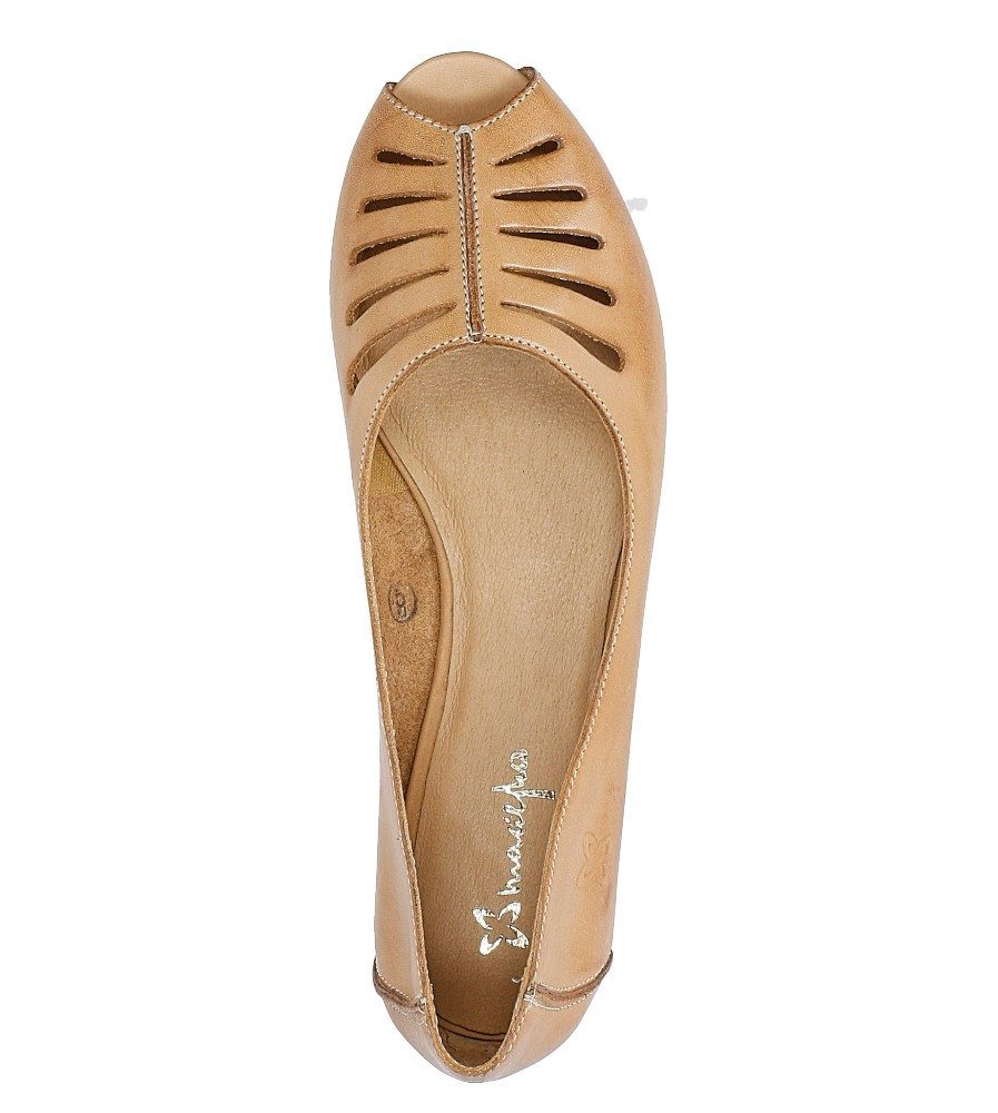 Brązowe baleriny skórzane z odkrytymi palcami Maciejka 03497-29/00-6 wysokosc_obcasa 1 cm