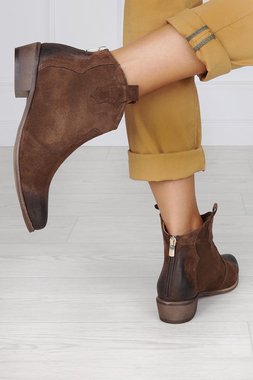 Brązowe botki kowbojki z zamkiem na pięcie polska skóra Exquisite 1128 ciemny brązowy