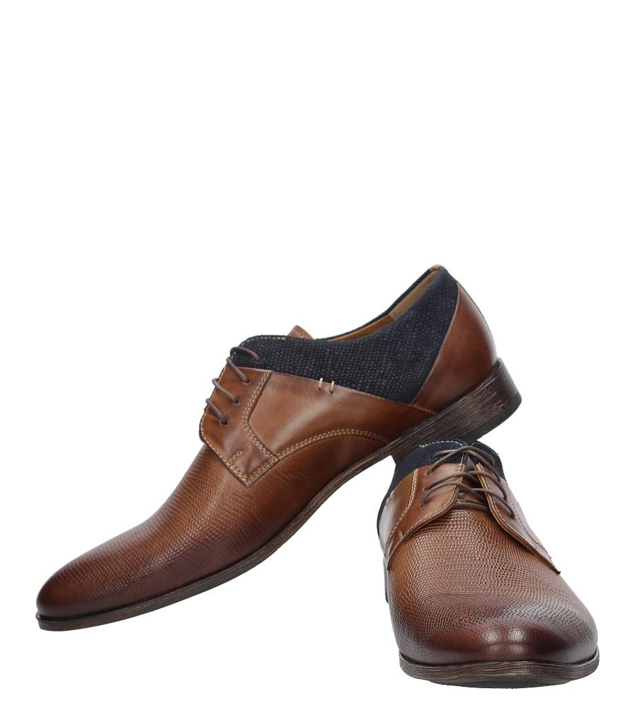 Brązowe buty wizytowe skórzane sznurowane brąz palony DUO MEN 01718E-02-B-P-010 brązowy