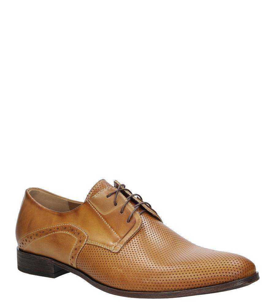 Brązowe buty wizytowe skórzane sznurowane słomka palony DUO MEN 01707E-05-L-5-010