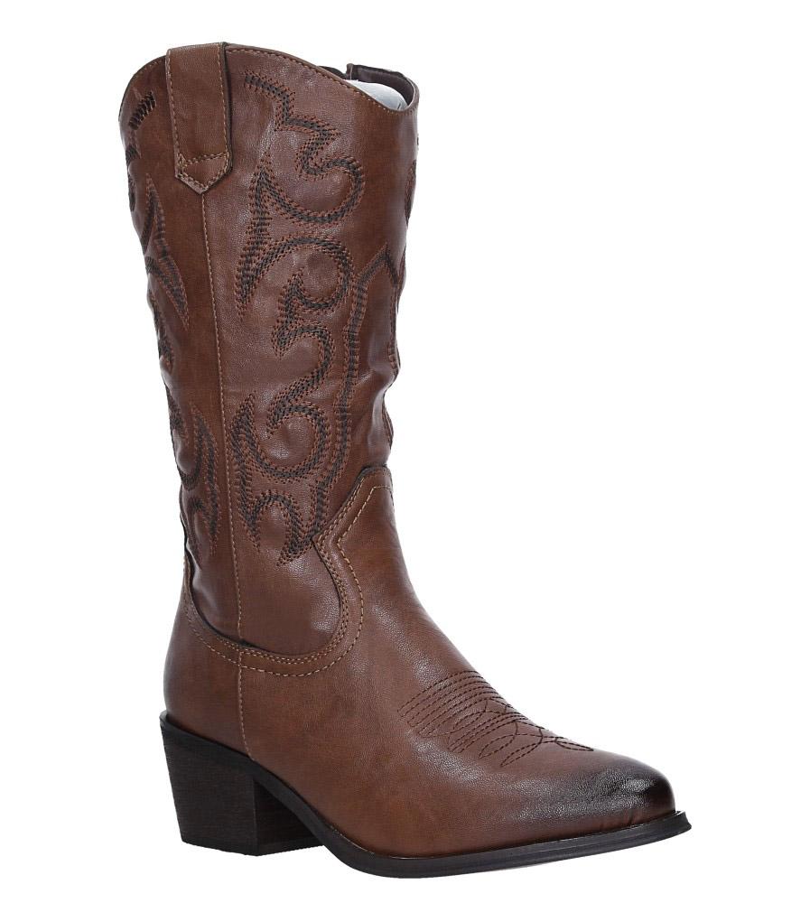 Brązowe kozaki kowbojki haftowane Jezzi RMR1921-1 brązowy
