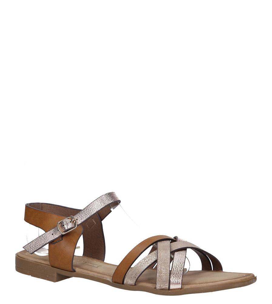 Brązowe lekkie sandały płaskie z błyszczącymi paskami na krzyż Casu K19X8/BR
