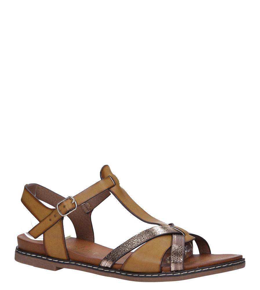 Brązowe lekkie sandały płaskie z paskiem przez środek Casu K19X12/BR