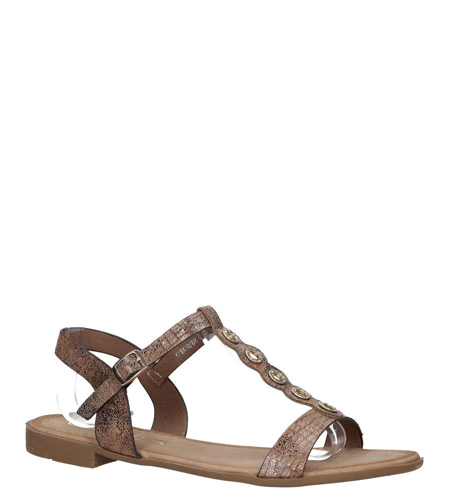 Brązowe lekkie sandały płaskie z paskiem przez środek i cyrkoniami Casu K19X10/BR