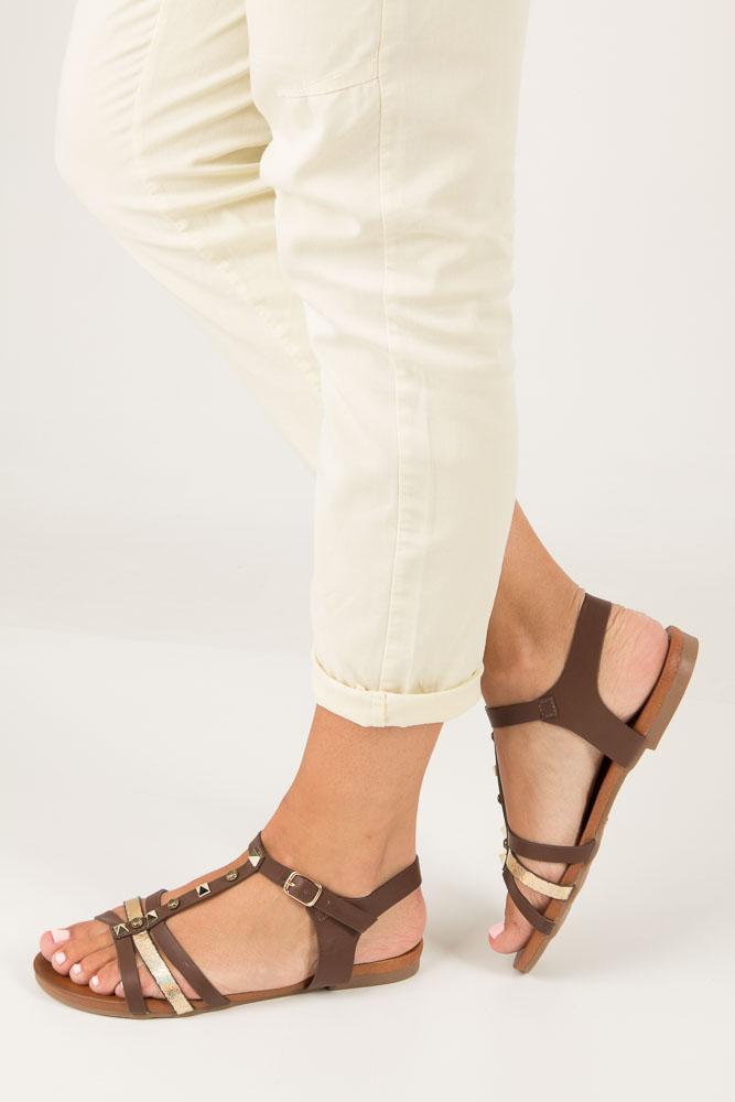 Brązowe płaskie i lekkie sandały z dżetami Casu K18X3/BR