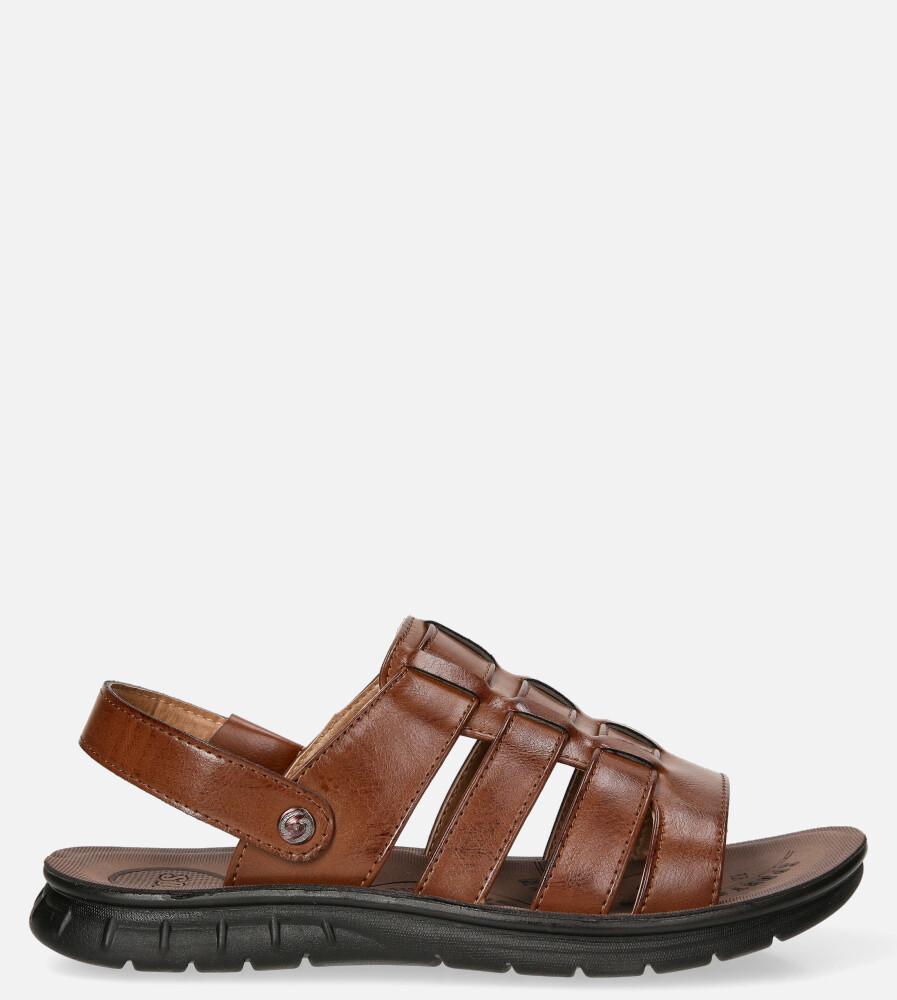 Brązowe sandały klapki wsuwane Casu 278 brązowy
