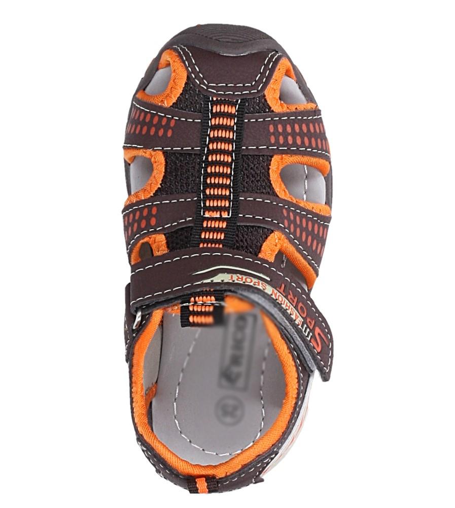 Brązowe sandały na rzep Casu 58005 kolor brązowy, pomarańczowy