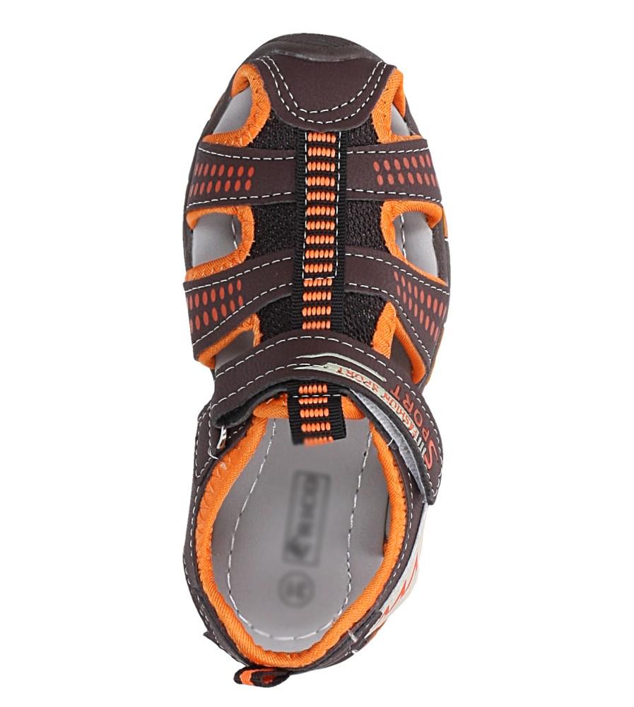 Brązowe sandały na rzep Casu 58006 kolor brązowy, pomarańczowy