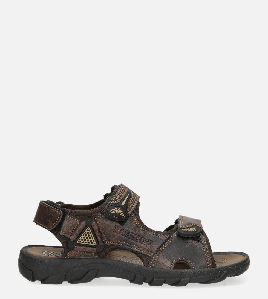 Brązowe sandały na rzepy Casu 3127 brązowy