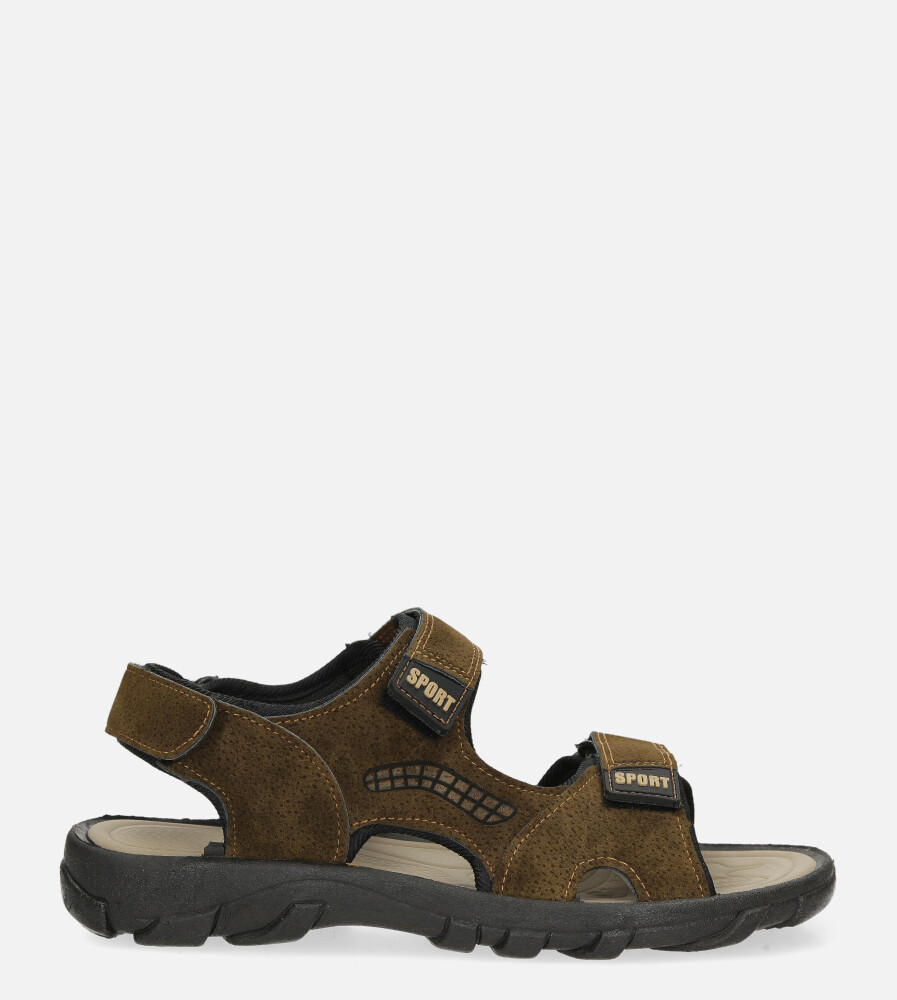 Brązowe sandały na rzepy Casu 3129