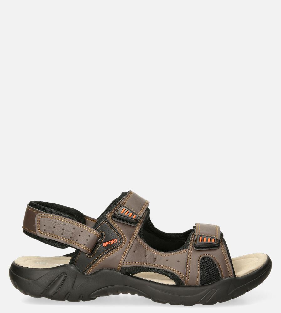 Brązowe sandały na rzepy Casu A5512-4