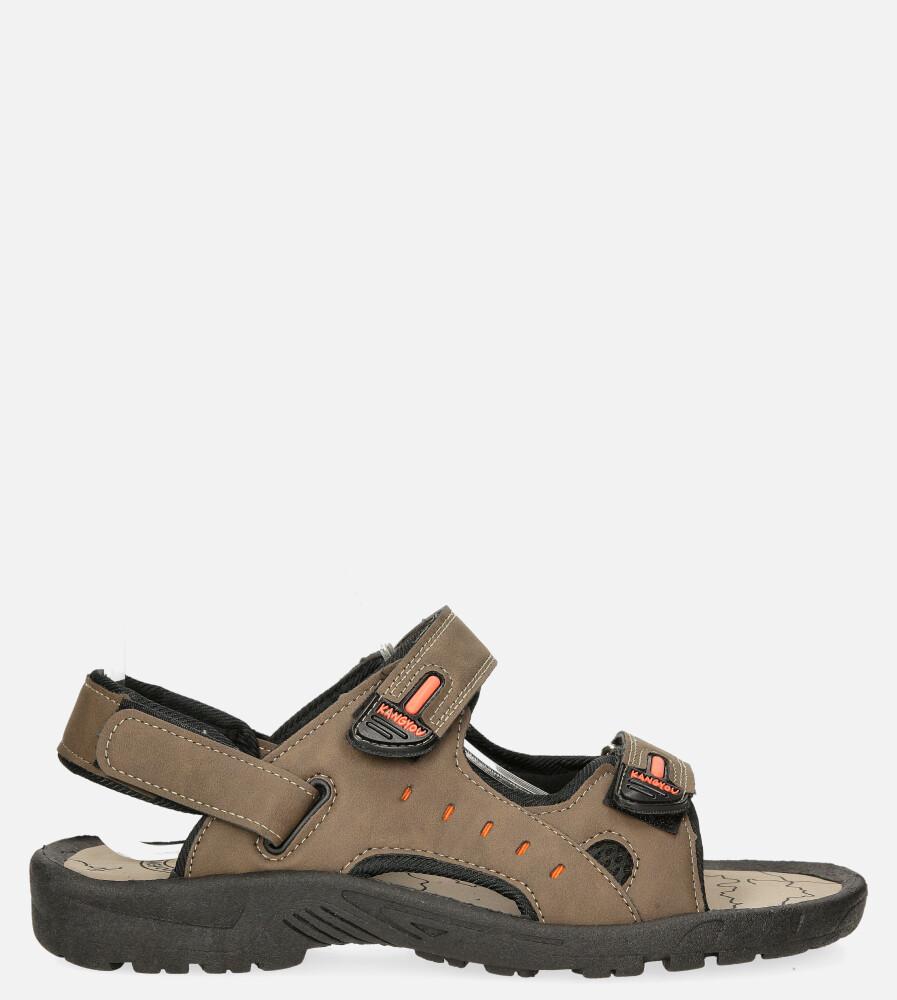 Brązowe sandały na rzepy Casu B-67 model B-67
