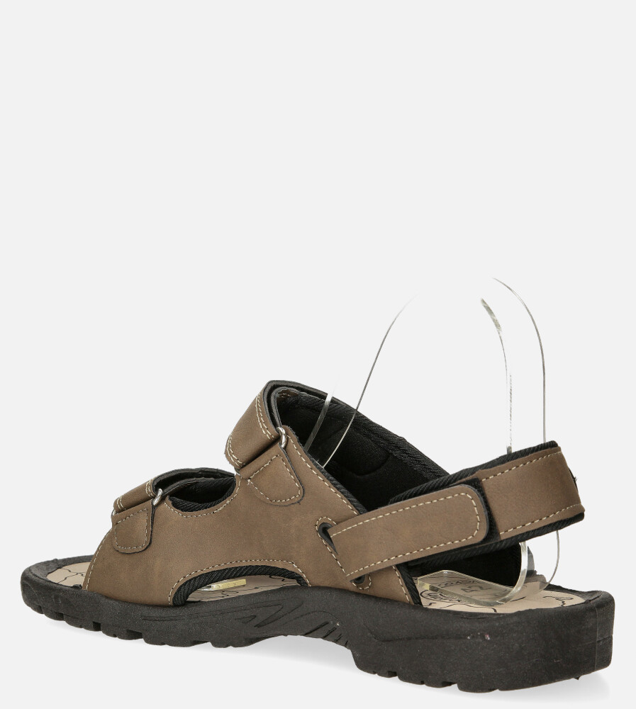 Brązowe sandały na rzepy Casu B-67 sezon Lato