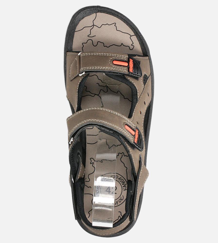 Brązowe sandały na rzepy Casu B-67 kolor brązowy