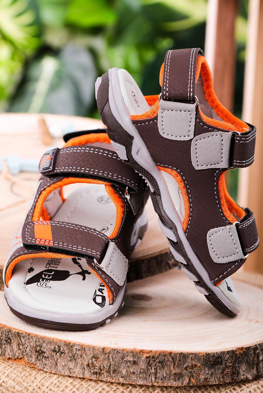Brązowe sandały na rzepy Casu JF06