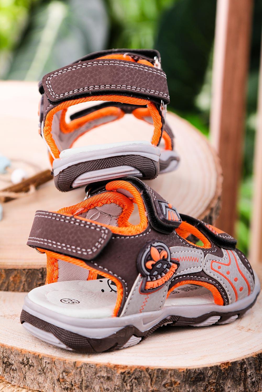 Brązowe sandały na rzepy Casu JF07