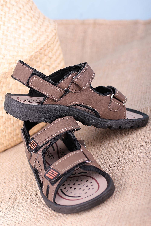 Brązowe sandały na rzepy Casu W2212