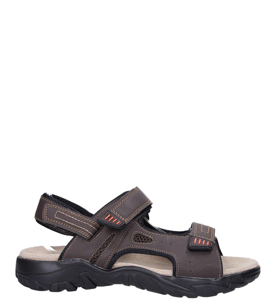 Brązowe sandały na rzepy ze skórzaną wkładką Casu B9653-7