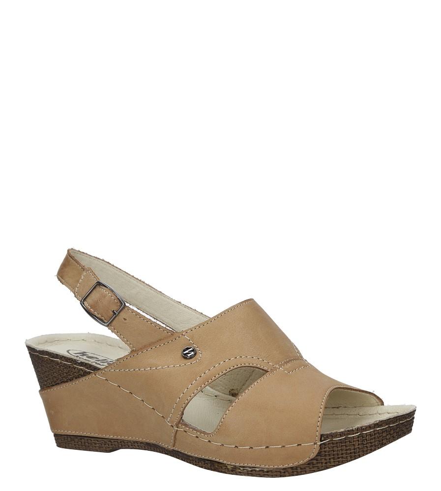 Brązowe sandały skórzane na koturnie Helios 217