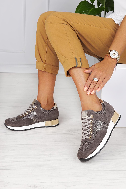 Brązowe sneakersy Kati buty sportowe sznurowane polska skóra 7003 brązowy