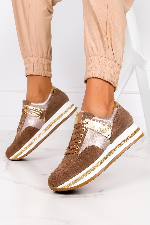 Brązowe sneakersy Kati buty sportowe sznurowane polska skóra 7099 producent Kati