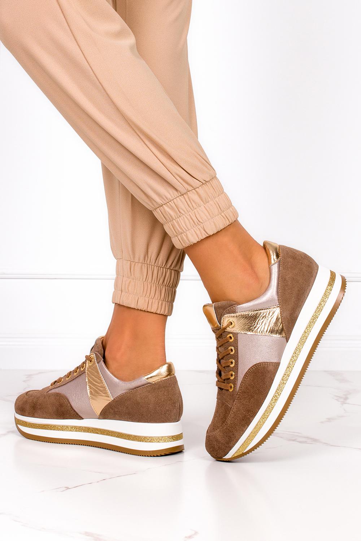 Brązowe sneakersy Kati buty sportowe sznurowane polska skóra 7099 model 7099
