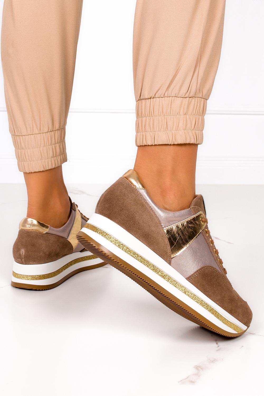 Brązowe sneakersy Kati buty sportowe sznurowane polska skóra 7099 kolor brązowy, złoty