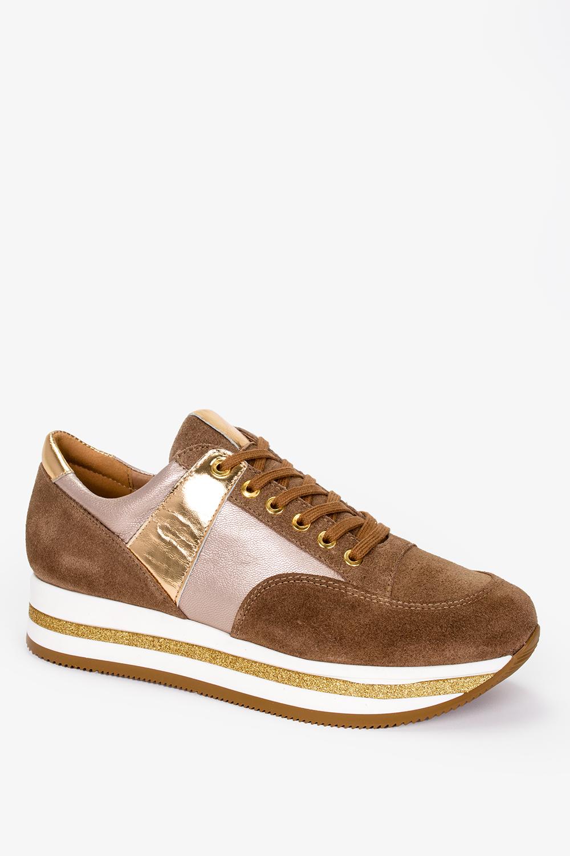 Brązowe sneakersy Kati buty sportowe sznurowane polska skóra 7099 wysokosc_obcasa 4 cm